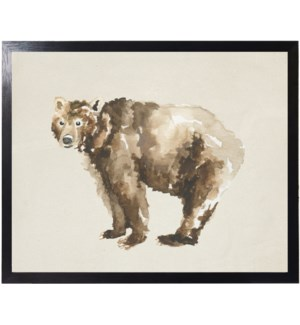 Watercolor woodland Grizzly bear