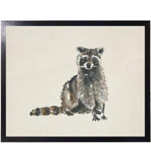 Watercolor woodland raccoon