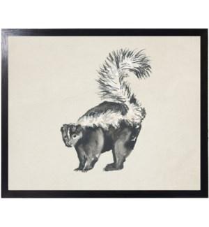 Watercolor woodland skunk