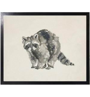 Watercolor woodland standing raccoon