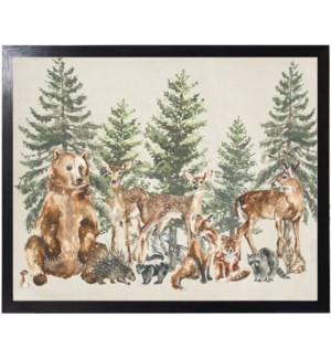 Watercolor woodland scene