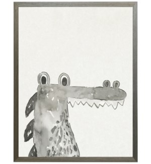 Watercolor Black and white Alligator