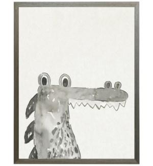 Watercolor Black and white Alligator