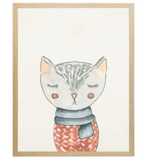 Watercolor winter clothed cat