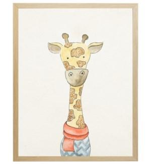 Watercolor winter clothed giraffe