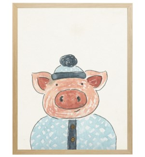Watercolor winter clothed pig