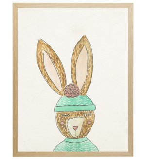 Watercolor winter clothed bunny