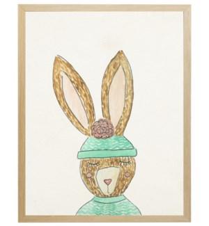 Watercolor winter clothed bunny