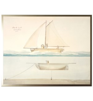 Vintage bookplate of a sailboat