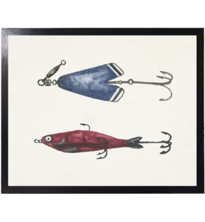 Watercolor camping red and blue fishing lures
