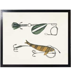 Watercolor camping green and yellow fishing lures