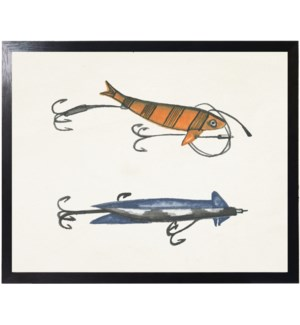 Watercolor camping orange and blue fishing lures