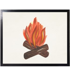 Watercolor camping fire