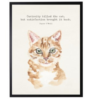 Watercolor Orange cat with Curiosity killed the cat quote