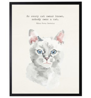 Watercolor White cat with As every cat owner knows quote