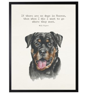 Watercolor Rottweiler with If there are no dogs quote