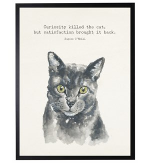 Watercolor Grey cat with Curiosity kill the cat quote