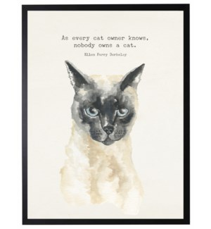 Watercolor Siamese cat with As every cat owner knows quote
