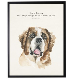 Watercolor Saint Bernard with Dogs laugh quote