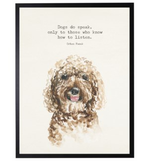 Watercolor Labradoodle with Dogs do speak quote