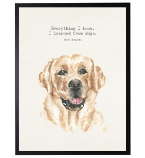 Watercolor Yellow lab with Everything I know quote