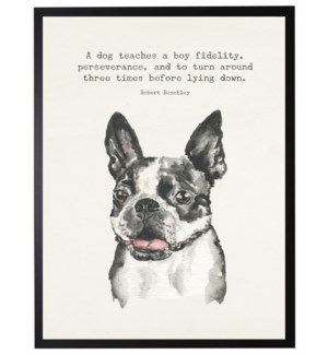 Watercolor French bulldog with A dog teaches quote