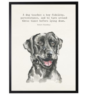Watercolor Black lab with A dog teaches quote