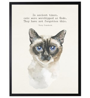 Watercolor Siamese cat with In antient times quote