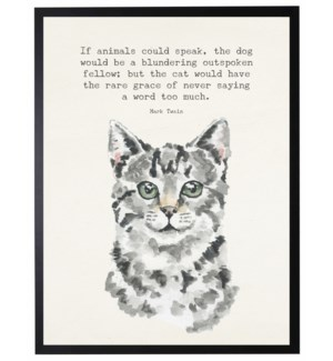 Watercolor White and black cat with If animals could speak quote
