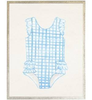 Kids blue striped swim suit