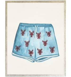 Kids blue swim trunks with lobsters