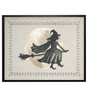 Watercolor witch flying across the moon