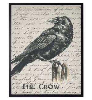 Watercolor Crow on vintage writing