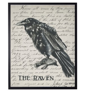 Watercolor Raven on vintage writing