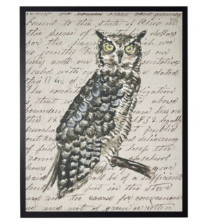 Watercolor Owl on vintage writing