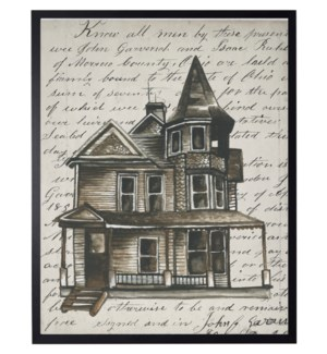 Watercolor Haunted house on vintage writing