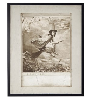 Vintage Flying Witch photo in frame