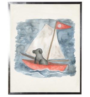 Watercolor Sailboat with dog