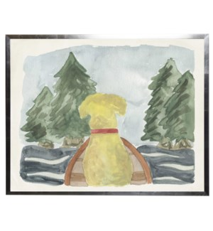 Watercolor Dog and Canoe