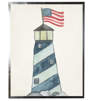 Watercolor Lighthouse with flying flag