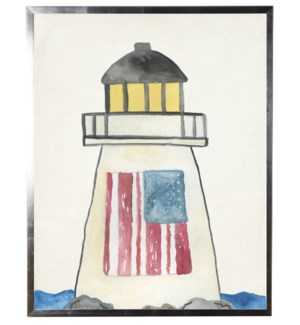 Watercolor Lighthouse with flag