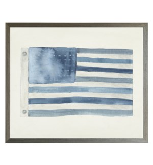 Watercolor American flag in blues