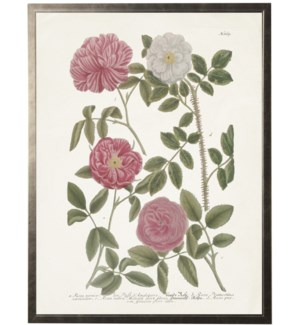 Leaves w/pink flowers on light bkgd