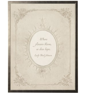 Lady Bird Johnson quote in feminine oval border
