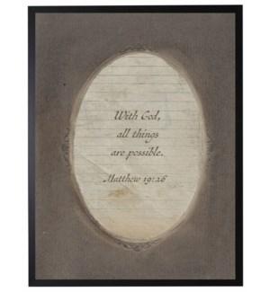 Matthew 19:26 verse in dark brown oval frame