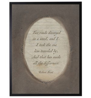 Robert Frost quote in dark brown oval frame