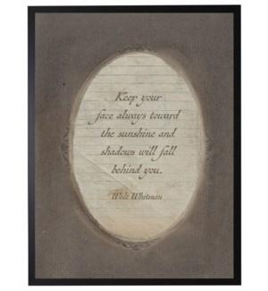 Whitman Sunshine quote in dark brown oval frame