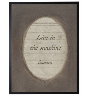 Emerson quote in dark brown oval frame