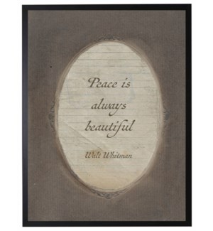Walt Whitman peace quote in dark brown oval frame