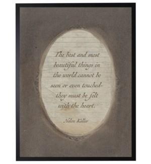 Helen Keller quote in dark brown oval frame